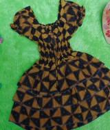 baju pesta dress batik kerut dada susun tiga anak bayi perempuan 0-12bulan motif segitiga