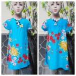 foto utama Dress baju santai batita perempuan cewek 3-4th Daster tali dada adem lembut motif bunga mekar biru
