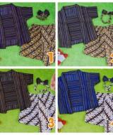 foto utama Setelan Baju Batik Kebaya Kutu Baru Bayi 6bulan-2tahun Plus Headband motif Lurik aneka Warna