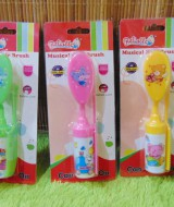foto utama set 2 in 1 sisir bayi Oval krincing lembut Rattle Musical Hair Brush