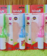 foto utama set 2 in 1 sisir bayi persegi krincing lembut Rattle Musical Hair Brush