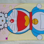 handuk mandi karakter karakter JUMBO SUPER BESAR motif Doraemon and Hello Kitty