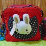 kado lahiran bayi baby gift tas perlengkapan bayi kelinci merah polka navy