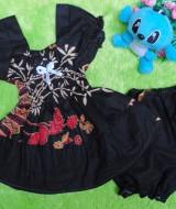 setelan baju batik bayi 0-12bulan kerut dada motif godhong ireng