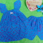 setelan baju batik santai bayi perempuan cewek 1-2th adem motif geometris abstrak