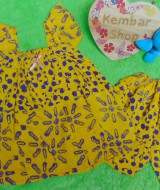 setelan baju batik santai bayi perempuan cewek 1-2th adem motif pom-pom kuning