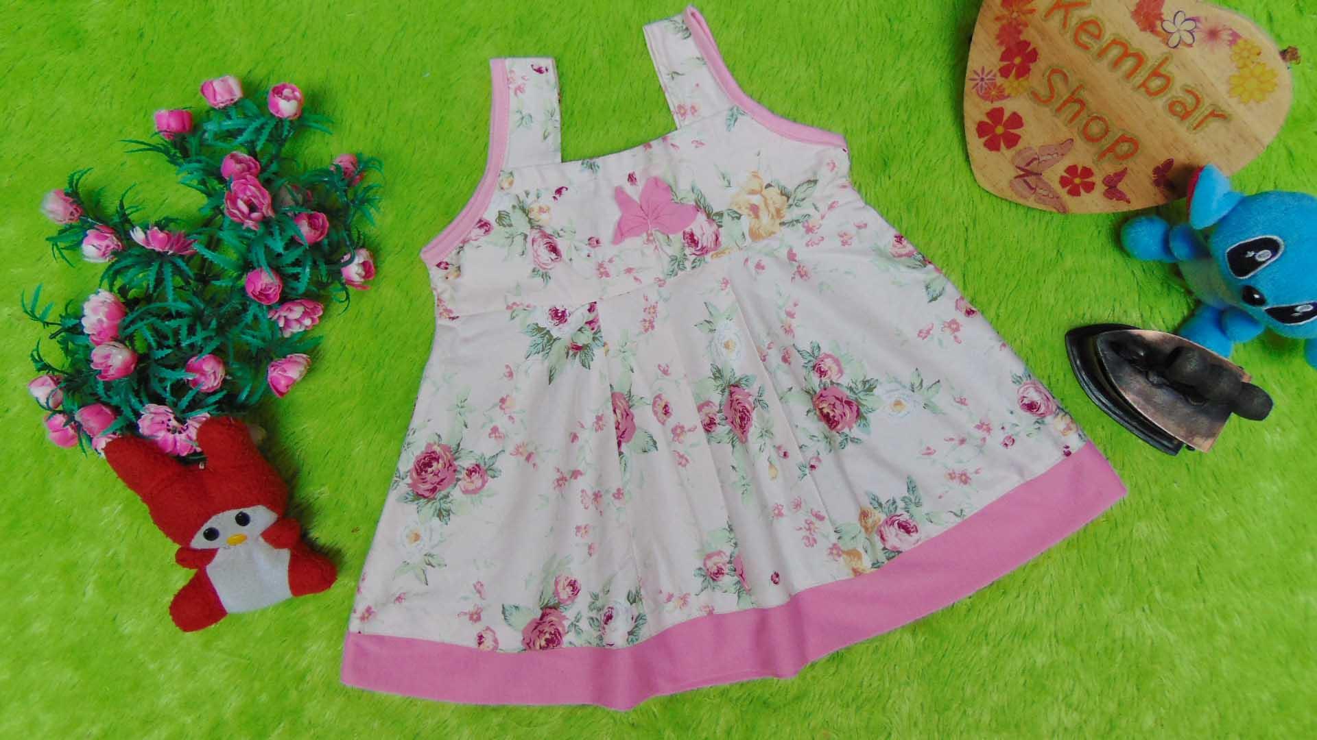 Dress Baju Anak Bayi Cewek Perempuan 0-12bulan Alisa Rose pink, 22 bahan katun adem lembut,bikin dedek tambah cantik, lebar dada 27cm, panjang 41cm