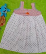 Dress Baju Anak Bayi Cewek Perempuan 1-2 tahun Alisa polka pink putih, bahan katun adem lembut,bikin dedek tambah cantik, lebar dada 34cm, panjang 61cm