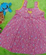 Dress Baju Anak Bayi Cewek Perempuan 1-2th Alisa taman bunga pink 25, bahan santung adem lembut,bikin dedek tambah cantik, lebar dada 31cm, panjang 56cm