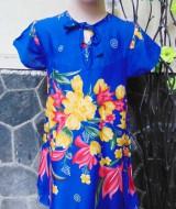 Dress baju santai anak perempuan cewek 4-5tth Daster tali dada adem lembut motif navy bunga mekar