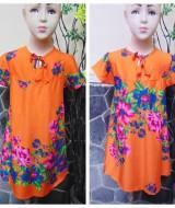 Dress baju santai anak perempuan cewek 4-5tth Daster tali dada adem lembut motif orange bunga mekar