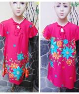 Dress baju santai anak perempuan cewek 4-5tth Daster tali dada adem lembut motif pink fanta bunga mekar