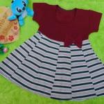dress baju pesta anak bayi perempuan cewek newborn 0-12bulan pita pastel maroon salur