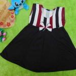dress baju pesta anak bayi perempuan cewek newborn 0-6bulan pita pastel salur black red