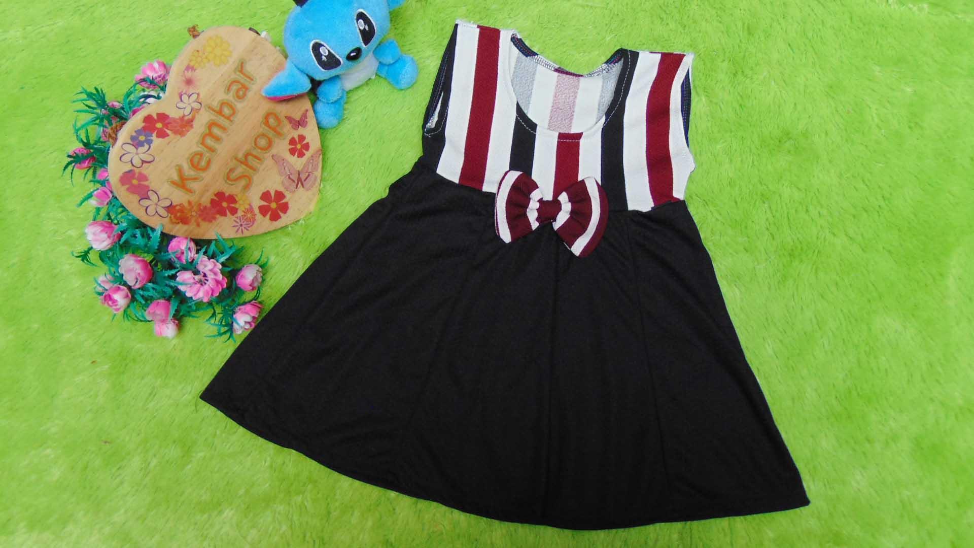 dress baju pesta anak bayi perempuan cewek newborn 0-6bulan pita pastel salur black red2 25 bahan wafel lembut,nyaman untuk bayi, lebar dada 26cm, panjang 42cm, slkn dcocokkan dg uk baby