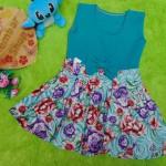 dress baju pesta anak bayi perempuan cewek newborn 0-6bulan pita pastel tosca taman bunga