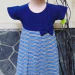dress baju pesta anak bayi perempuan cewek newborn 2-3th pita pastel navy salur