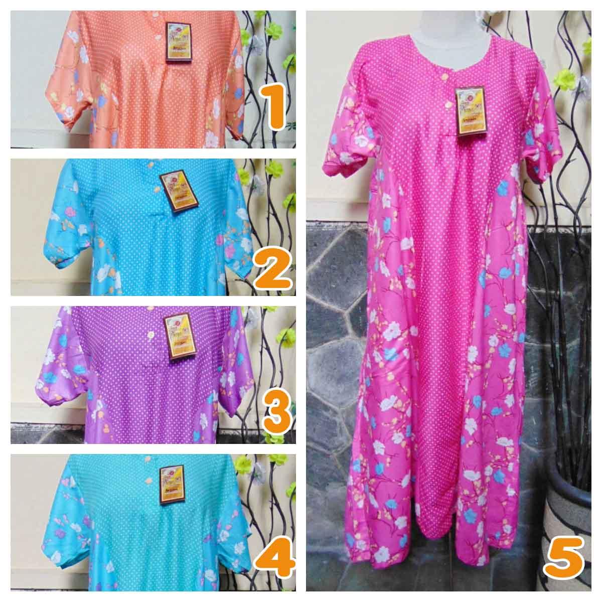 foto utama baju tidur santai batik daster wanita lengan pendek pias cantik daster diana motif polka bunga ANEKA WARNA