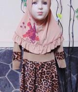 PALING MURAH Baju Muslim Gamis Aira Anak Bayi Perempuan 1-2th Plus Hijab Leopard 42 lebar dada 29cm, panjang 54cm