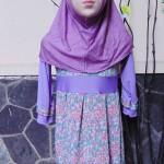 PALING MURAH Baju Muslim Gamis Aira Anak Bayi Perempuan 1-2th Plus Hijab Purple Flowers