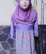 PALING MURAH Baju Muslim Gamis Aira Anak Bayi Perempuan 1-2th Plus Hijab Purple Flowers 42 Lebar Dada 28cm, Panjang 58cm