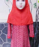 PALING MURAH Baju Muslim Gamis Aira Anak Bayi Perempuan 1-2th Plus Hijab Red Little Flowers 42 Lebar Dada 31cm, Panjang 55cm, ada tali di samping, bisa diikat ke belakang