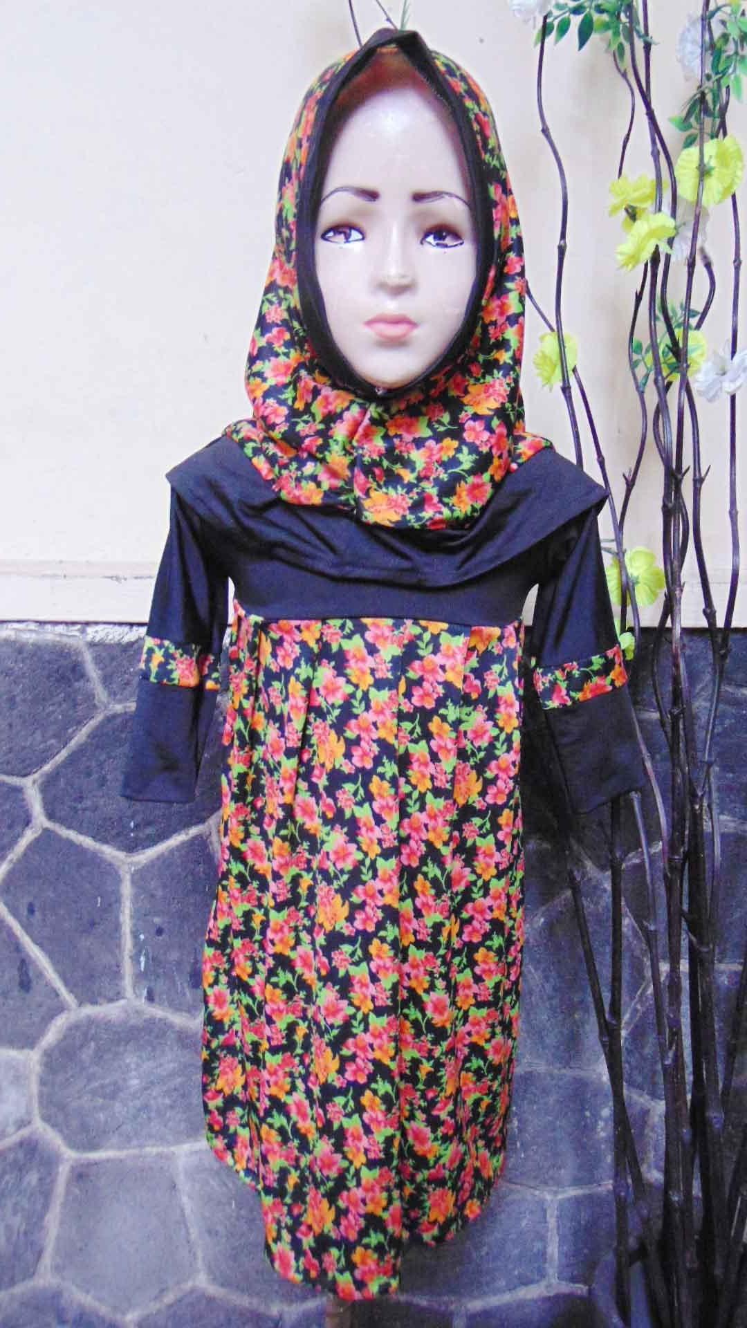 PALING MURAH Baju Muslim Gamis Aira Anak Bayi Perempuan 6-18bulan Plus Hijab Black Flowers 40 lebar dada 26cm, panjang 59cm