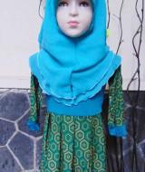 PALING MURAH Baju Muslim Gamis Aira Anak Bayi Perempuan 6-18bulan Plus Hijab Geometri Hijau Lebar 40 Dada 26cm, Panjang 48cm