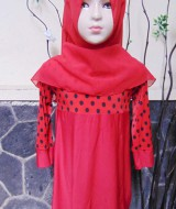 PALING MURAH Baju Muslim Gamis Aira Anak Bayi Perempuan 6-18bulan Plus Hijab Lady Bug 40 lebar dada 29cm, panjang 53cm