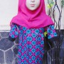 PALING MURAH Baju Muslim Gamis Aira Anak Bayi Perempuan 6-18bulan Plus Hijab Pink Flowers 40 Lebar Dada 26cm, Panjang 55cm