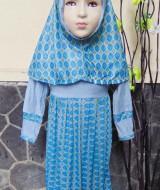 PALING MURAH Baju Muslim Gamis Aira Anak Bayi Perempuan 6-18bulan Plus Hijab ceplok abu 40 Lebar Dada 24cm, Panjang 60cm