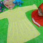 PALING MURAH Baju Muslim Gamis yellow flowers Anak Bayi Perempuan 0-12bulan Plus Hijab Mutiara 37 Lebar Dada 28cm, Panjang 50cm