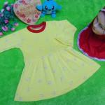 PALING MURAH Baju Muslim Gamis yellow flowers Anak Bayi Perempuan 0-12bulan Plus Hijab Pita 37 Lebar Dada 27cm, Panjang 45cm
