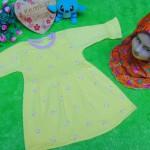 PALING MURAH Baju Muslim Gamis yellow flowers Anak Bayi Perempuan 0-12bulan Plus Hijab barbie mariposa 37 Lebar Dada 26cm, Panjang 43cm