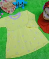 PALING MURAH Baju Muslim Gamis yellow flowers Anak Bayi Perempuan 0-12bulan Plus Hijab bunga 37 Lebar Dada 27cm, Panjang 41cm