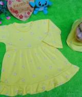 PALING MURAH Baju Muslim Gamis yellow flowers Anak Bayi Perempuan 0-12bulan Plus Hijab kuning 37 Lebar Dada 29cm, Panjang 47cm