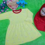 PALING MURAH Baju Muslim Gamis yellow flowers Anak Bayi Perempuan 0-12bulan Plus Hijab pasmina instan 37 Lebar Dada 27cm, Panjang 49cm