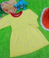 PALING MURAH Baju Muslim Gamis yellow flowers Anak Bayi Perempuan 0-12bulan Plus Hijab pita orange 37 Lebar Dada 25cm, Panjang 46cm