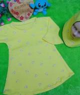 PALING MURAH Baju Muslim Gamis yellow flowers Anak Bayi Perempuan 6-18bulan Plus Hijab Kuning 37 Lebar Dada 31cm, Panjang 48cm