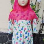 PLUS HIJAB Baju Muslim Gamis Anak Bayi Perempuan Cewek 2-3th BOBO KIDS motif pineapple pink