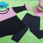 PLUS HIJAB setelan baju legging muslim anak Aisyah gamis bayi 1-2th jilbab khimar black pink 59 lebar dada 29cm, panjang baju 40cm, panjang celana 47cm