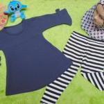 PLUS HIJAB setelan baju legging muslim anak Aisyah gamis bayi 1-2th jilbab monokrom 59 lebar dada 28cm, panjang baju 43cm, panjang celana 48cm