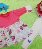 PLUS HIJAB setelan baju legging muslim anak Aisyah gamis bayi 1-2th jilbab romantic rose 59 lebar dada 30cm, panjang baju 41cm, panjang celana 40cm