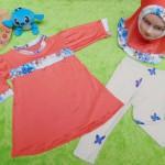 PLUS HIJAB setelan baju legging muslim anak Aisyah gamis bayi 6-18bulan jilbab beautiful orange 57 lebar dada 28cm, panjang baju 41cm, panjang celana 41cm