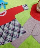 PLUS HIJAB setelan baju legging muslim anak Aisyah gamis bayi 6-18bulan jilbab merah tartan 57 lebar dada 28cm, panjang baju 40cm, panjang celana 42cm