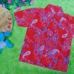 baju batik bayi anak laki-laki kemeja batik bayi hem anak cowok uk 0-2th baju pesta motif Floral merah
