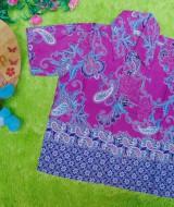 baju batik bayi anak laki-laki kemeja batik bayi hem anak cowok uk 0-2th baju pesta motif floral ungu tumpal 30 lebar dada 28cm, panjang ke bawah 35cm,
