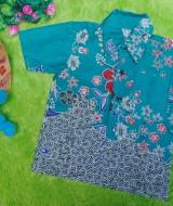 baju batik bayi anak laki-laki kemeja batik bayi hem anak cowok uk 0-2th baju pesta motif kembang dottie hijau tumpal 30 lebar dada 28cm, panjang ke bawah 35cm,