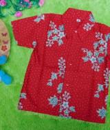 baju batik bayi anak laki-laki kemeja batik bayi hem anak cowok uk 0-2th baju pesta motif kembang dottie merah 30 lebar dada 28cm, panjang ke bawah 35cm,