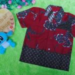baju batik bayi anak laki-laki kemeja batik bayi hem anak cowok uk 0-2th baju pesta motif kembang maroon ireng tumpal
